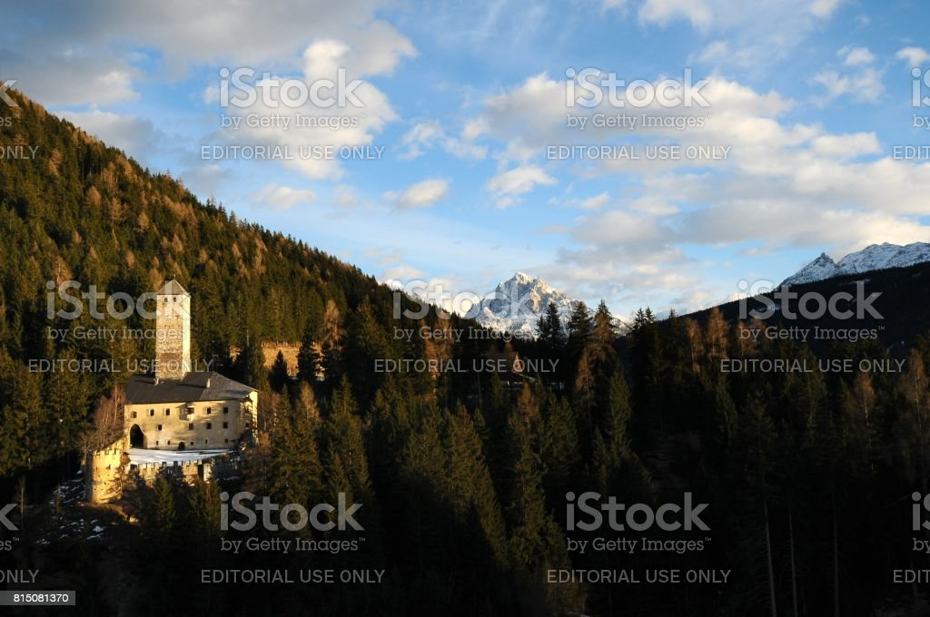 Beautiful view of Castle of Monguelfo in Winter Season, Val Pusteria, South Tyrol, Italy stock photo