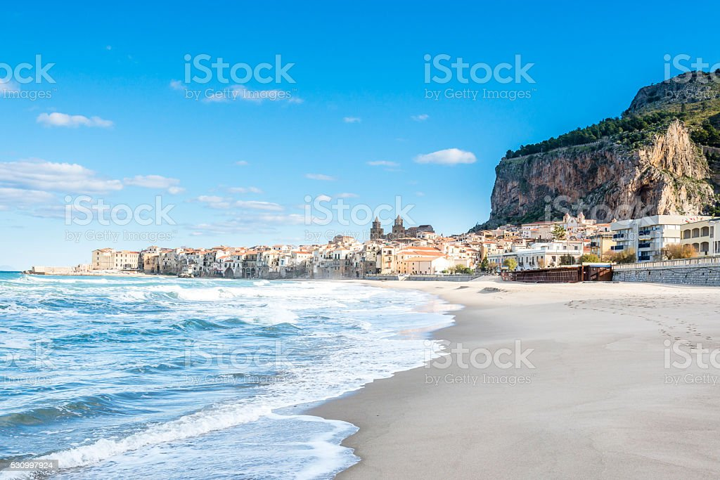 Beautiful view of Cefalu beach. Sicily. Italy stock photo