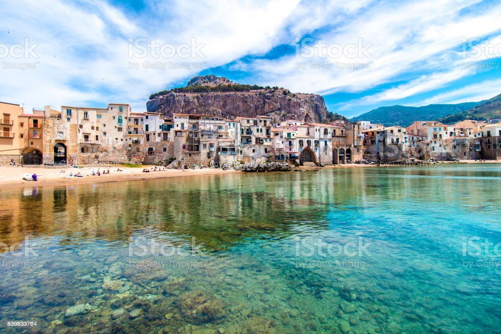 Beautiful view of cefalu, Sicily stock photo