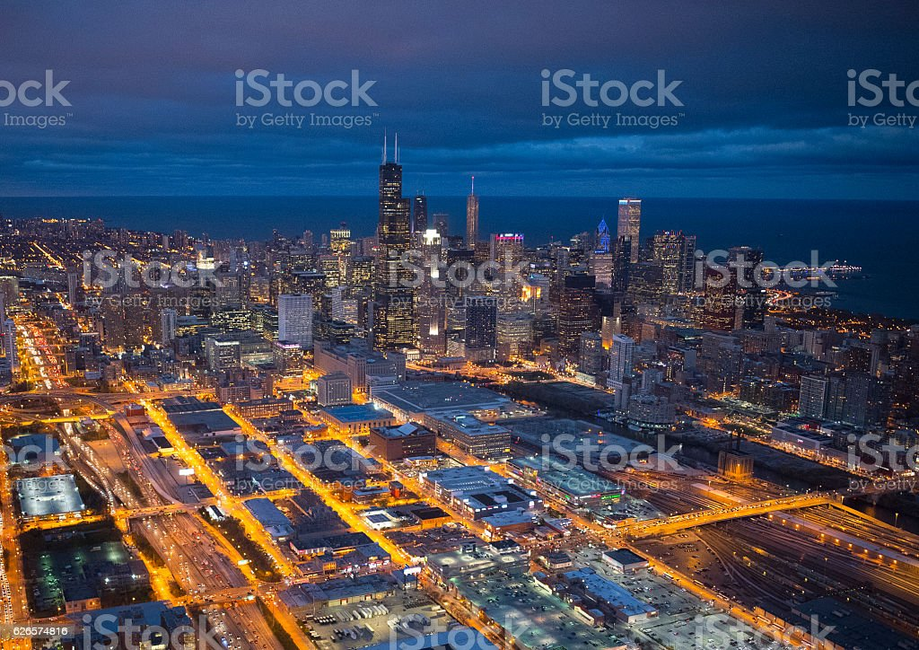 Beautiful view of Chicago from the sky stock photo
