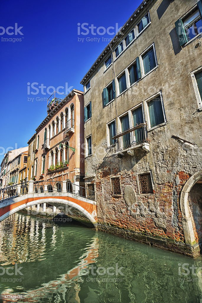 Beautiful view of Colorful canal in Venice, Italy royalty-free stock photo