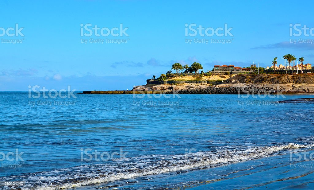 Beautiful view of Costa Adeje,Tenerife,Canary Islands,Spain. stock photo
