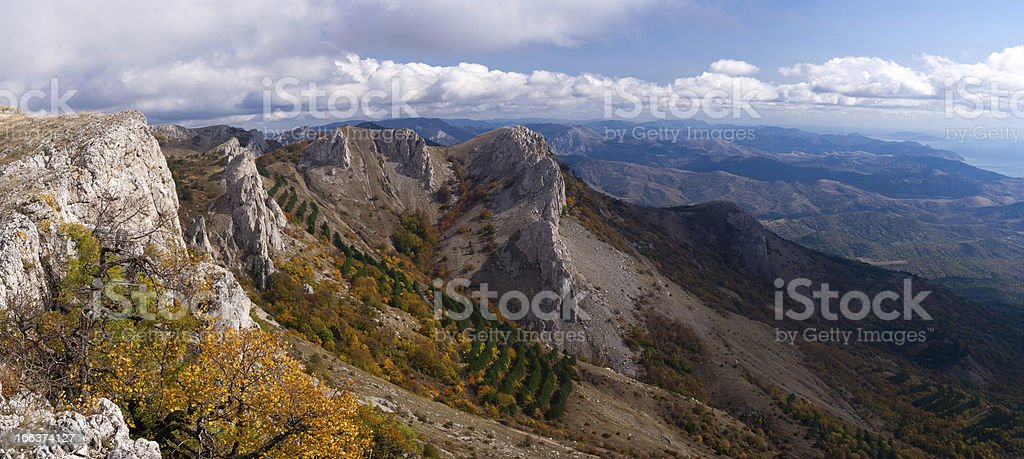 Beautiful view of  Crimean Mountains in the fall. Ukraine. stock photo