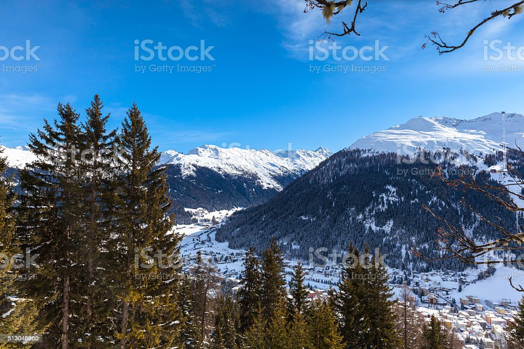 Beautiful view of Davos in Winter stock photo