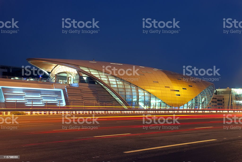 Beautiful view of Dubai metro at night stock photo