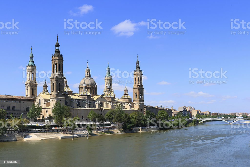 A beautiful view of El Pilar Basilica in Zaragoza, Spain stock photo