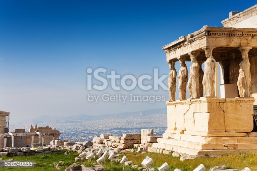 Beautiful view of Erechtheion with panorama of Acropolis in summer in Athens, Greece