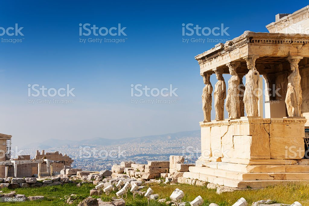 Beautiful view of Erechtheion in Athens, Greece stock photo