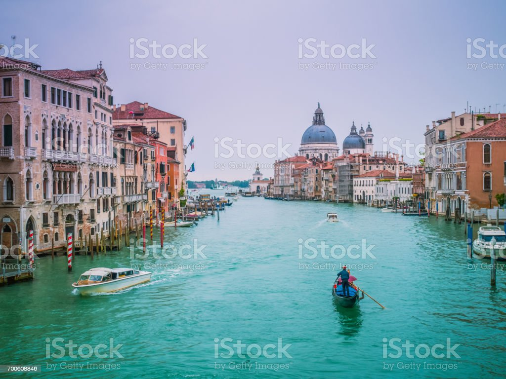 Beautiful view of famous Canal Grande with Basilica di Santa Maria della Salute. View of Grand Canal from Accademia's bridge. Venice, Italy. stock photo
