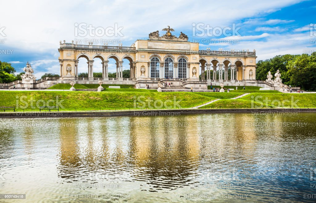 Beautiful view of famous Gloriette at Schonbrunn Palace and Gardens in Vienna, Austria stock photo