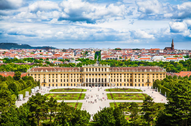 beautiful view of famous schonbrunn palace with great parterre garden in vienna, austria - vienna stock photos and pictures