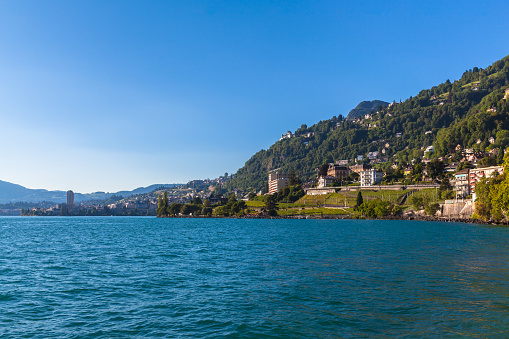 Beautiful view of Geneva lake and Montreux