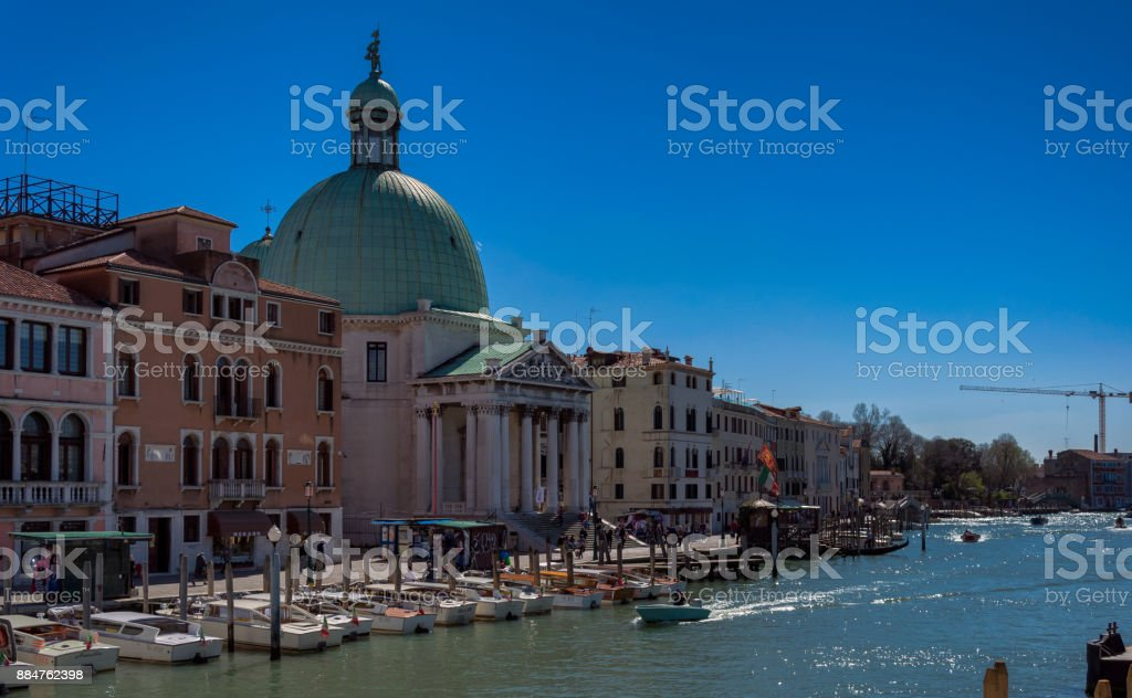 Beautiful view of grand canal and architecture shot from water taxi stock photo