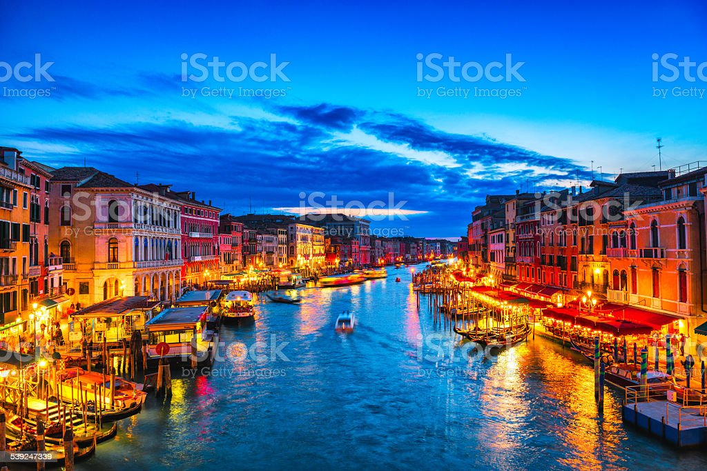 Beautiful View of Grand Canal in Venice after Sunset stock photo