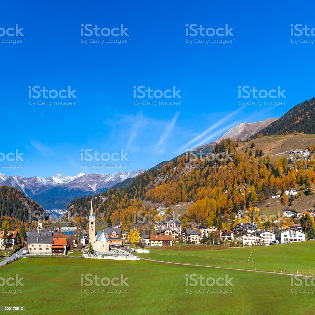 Beautiful view of Grisons in Autumn stock photo