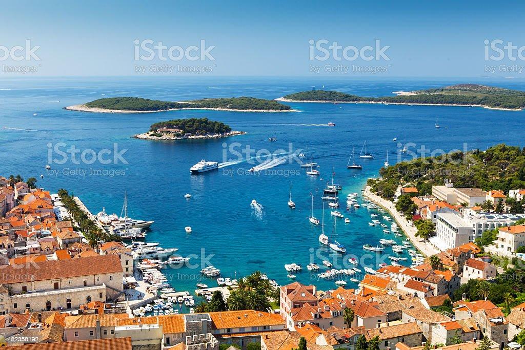 Beautiful view of harbor in Hvar town, Croatia stock photo