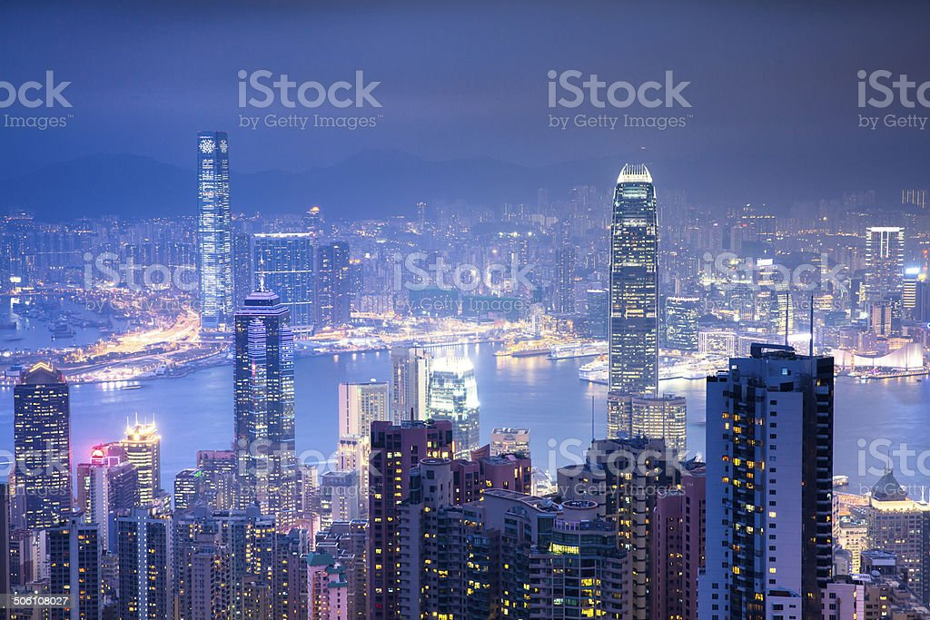 Beautiful view of Hong Kong from Victoria Peak at night stock photo