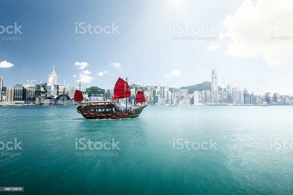 A beautiful view of Hong Kong's harbor stock photo