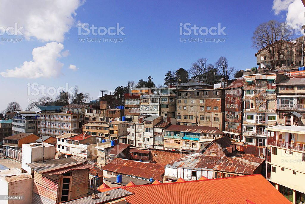 Beautiful View Of Houses And Hill In Murree, Pakistan stock photo