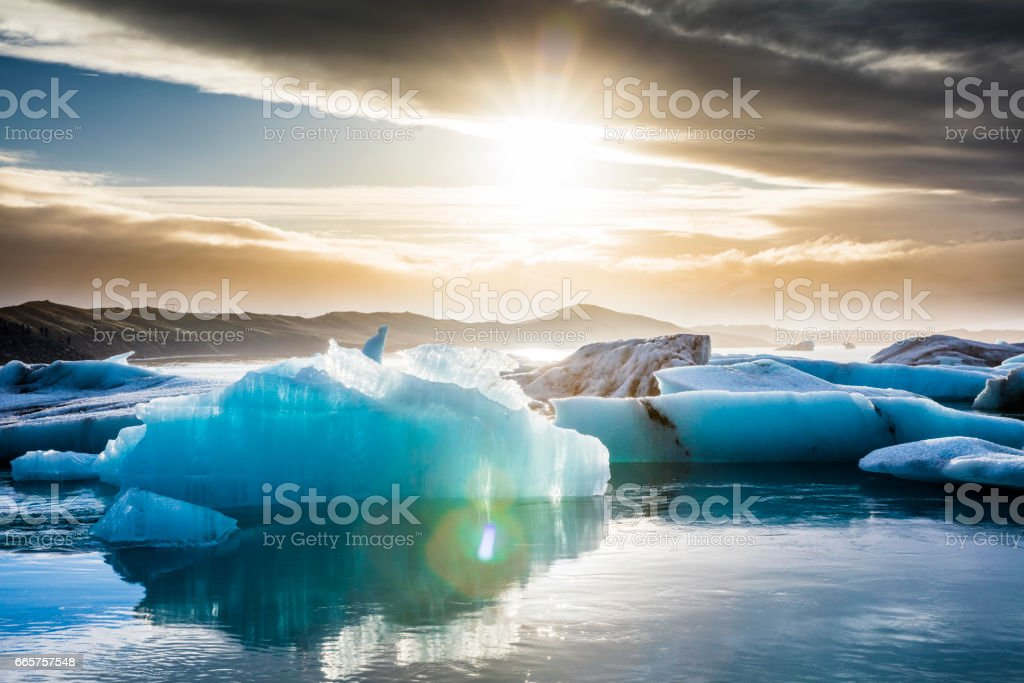 Beautiful view of icebergs in glacier lagoon stock photo