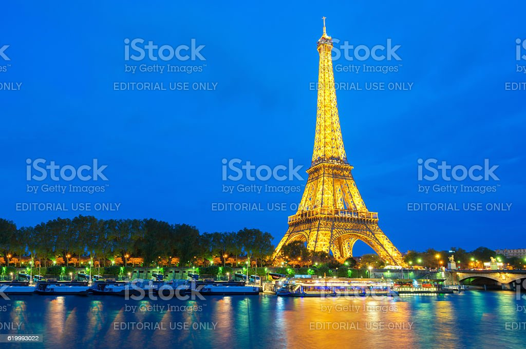 Beautiful view of illuminate light Eiffel tower stock photo