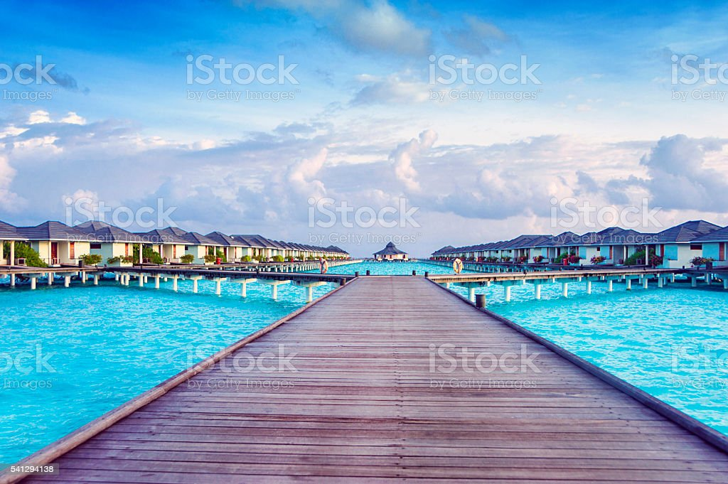 Beautiful View of Indian Ocean from Tropical Island Maldives stock photo