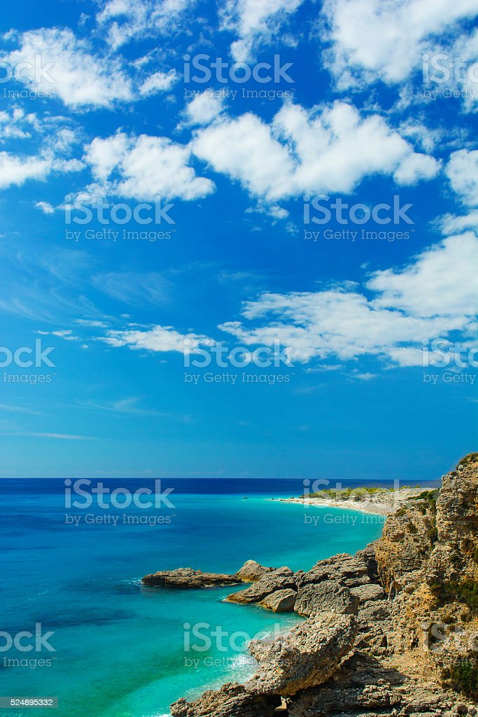 Beautiful view of Ionian sea with rocky beach in Albania stock photo