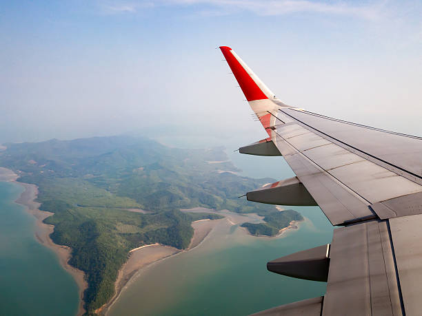 Beautiful view of island from airplane before landing stock photo