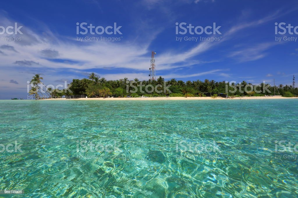 Beautiful view of island in Indian Ocean, Maldives. Turquoise water, white sand beach and green trees on blue sky background. zbiór zdjęć royalty-free
