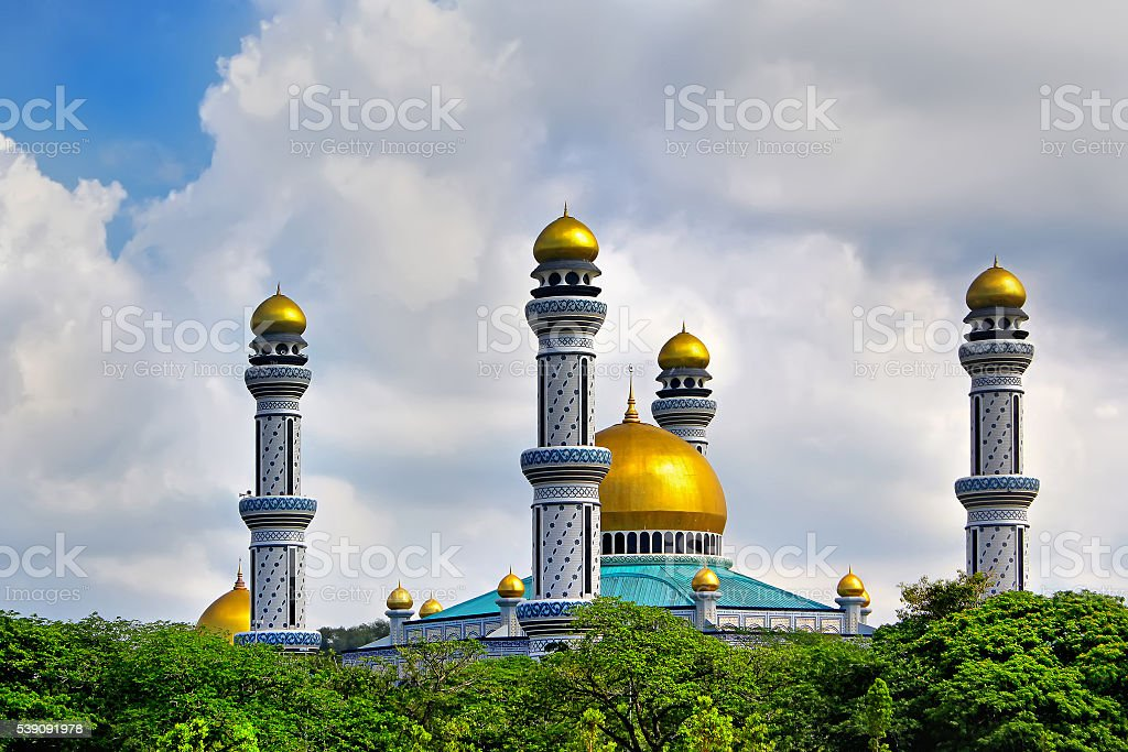 Beautiful View of Jame Asr Hassanil Bolkiah Mosque with Green stock photo