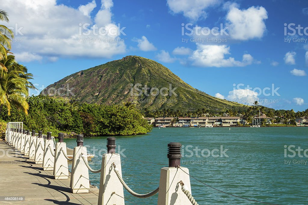 Beautiful view of Koko Head Crater with blue waters and sky stock photo