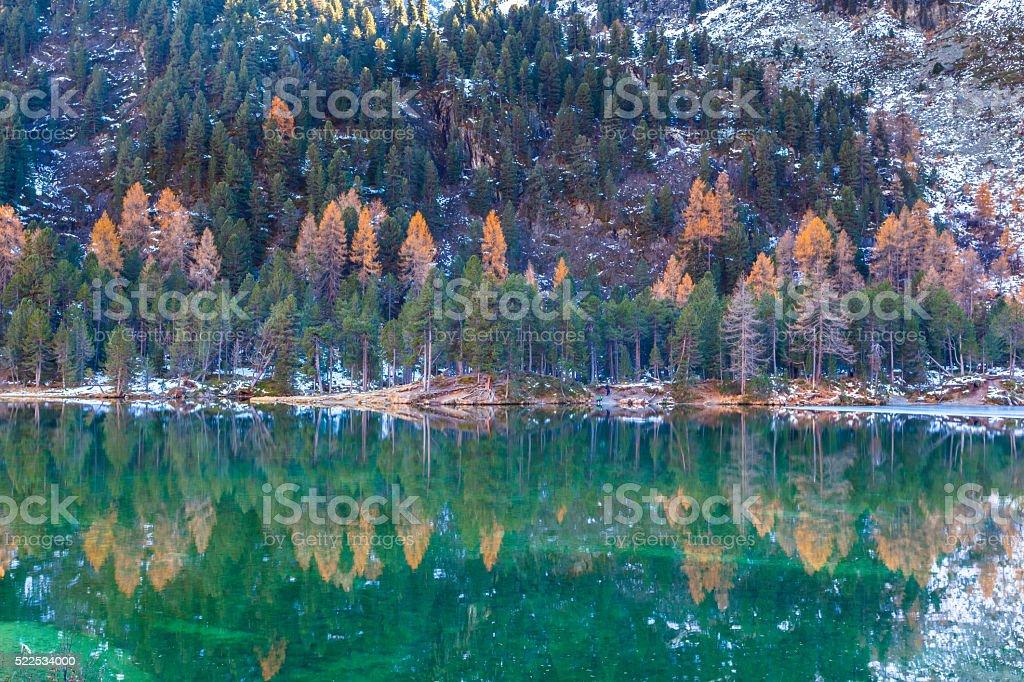 Beautiful view of Lake Palpuogna in autumn stock photo