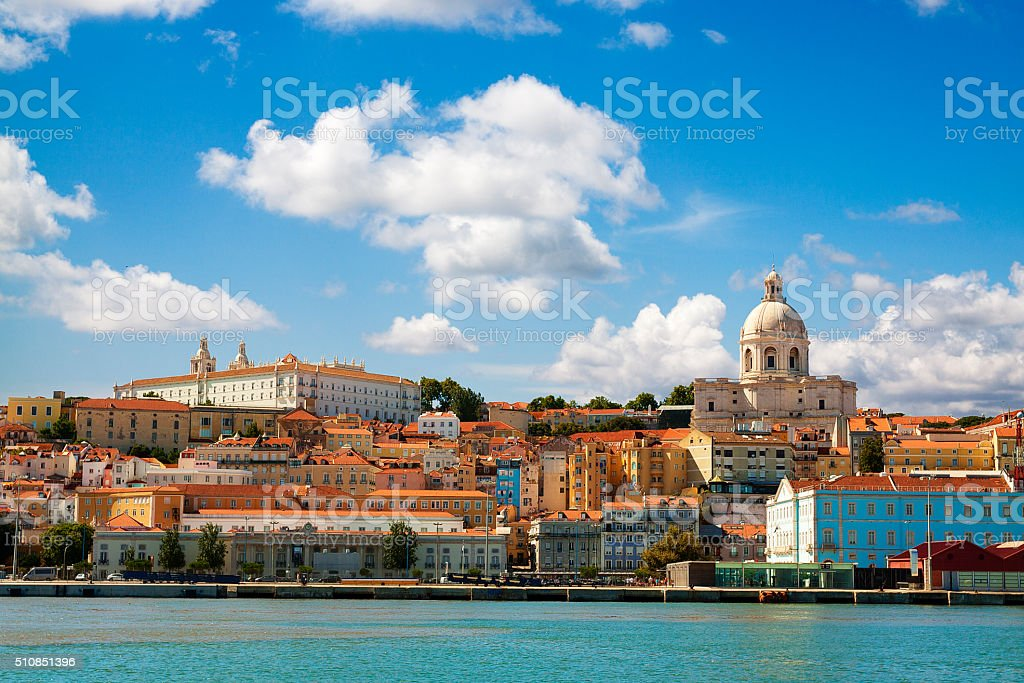Beautiful view of Lisbon from the Tagus River. stock photo
