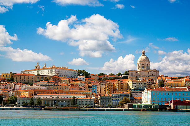 beautiful view of lisbon from the tagus river. - portugal stock photos and pictures