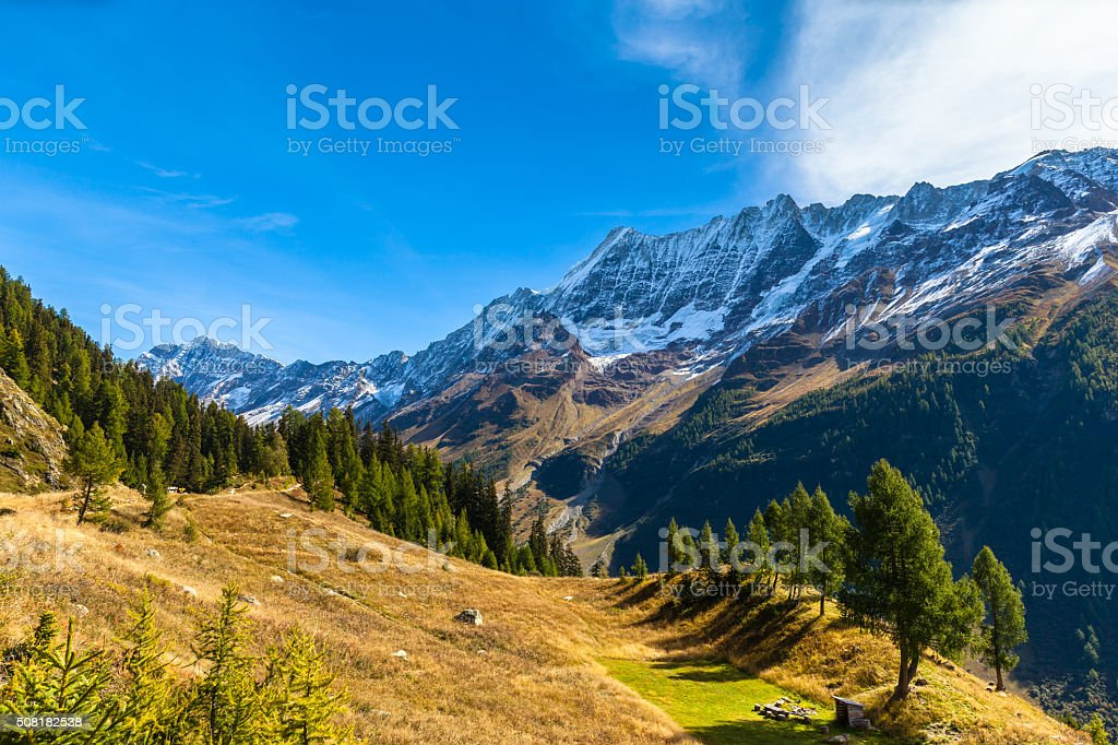 Beautiful view of  Loetschental valley stock photo