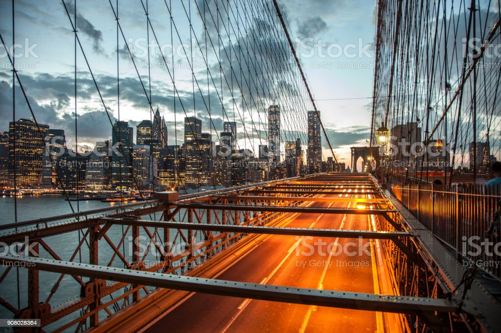 Beautiful view of Lower Manhattan in New York at dusk stock photo