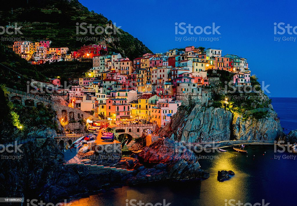 Beautiful view of Manarola at night stock photo