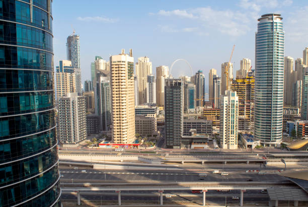 Beautiful view of Marina and JBR skyscrapers with Sheikh Zayed Road stock photo