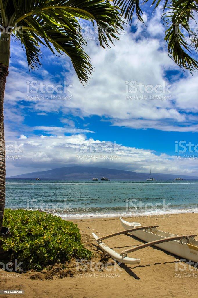 Beautiful view of Molokai Island from Kaanapali Beach, Maui, Hawaii stock photo
