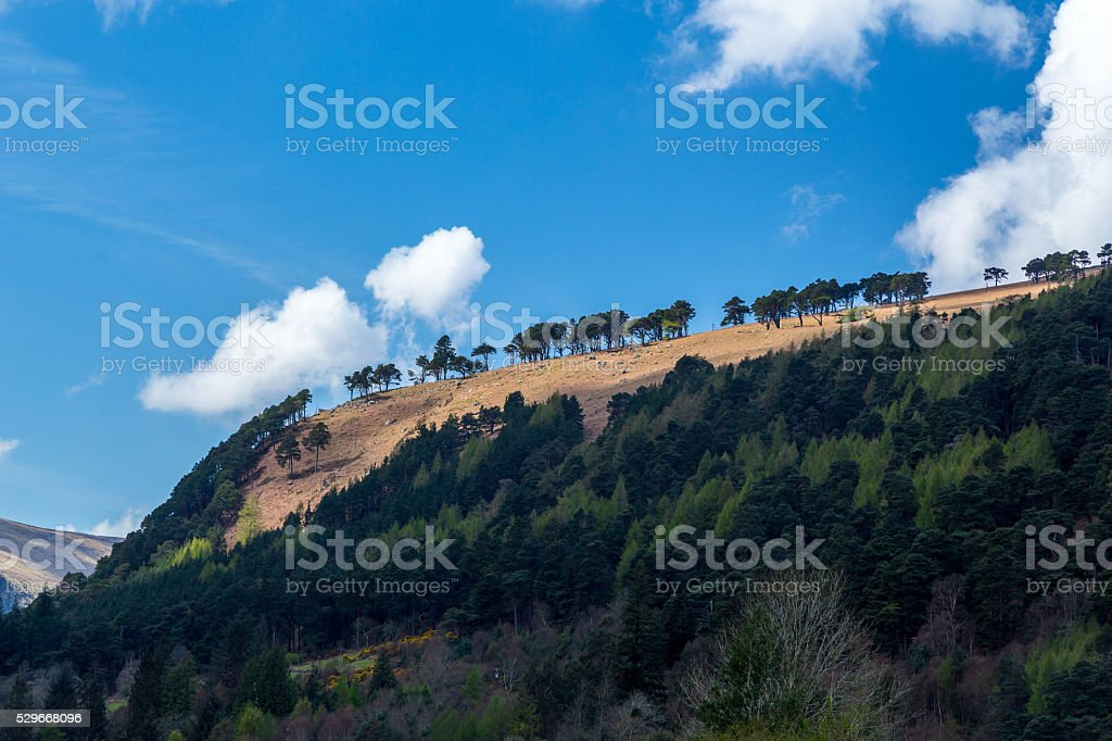 Beautiful view of mountain ridge cloudy sky and trees. royalty-free stock photo