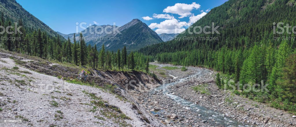 Beautiful view of mountain river among the forest and rocks on the background peaks stock photo