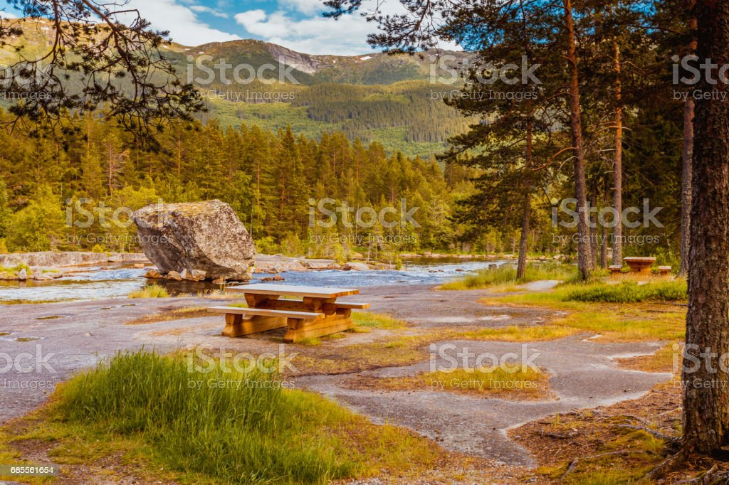 Beautiful view of mountain river in summer royalty-free 스톡 사진