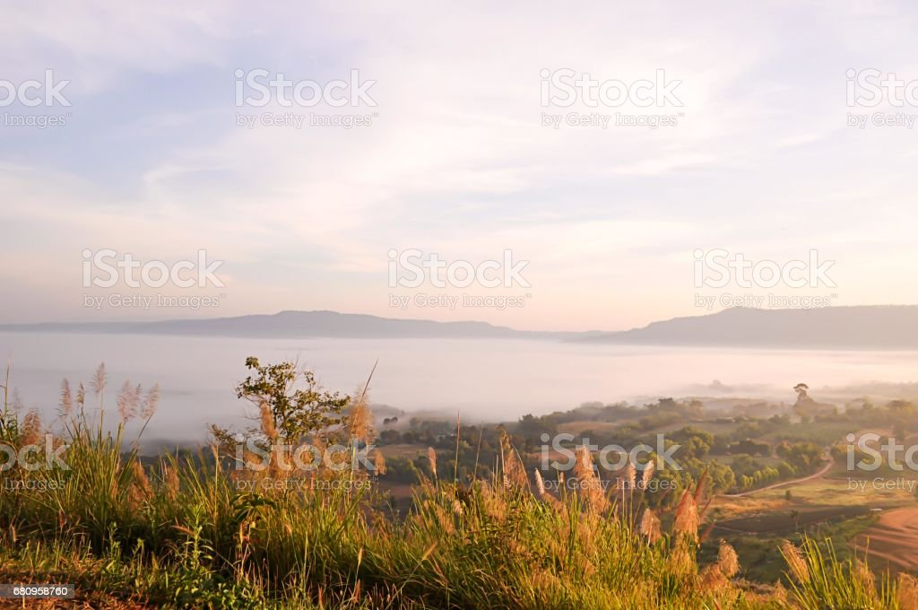 Beautiful View of Mountains and Mist with Sunlight. royalty-free stock photo