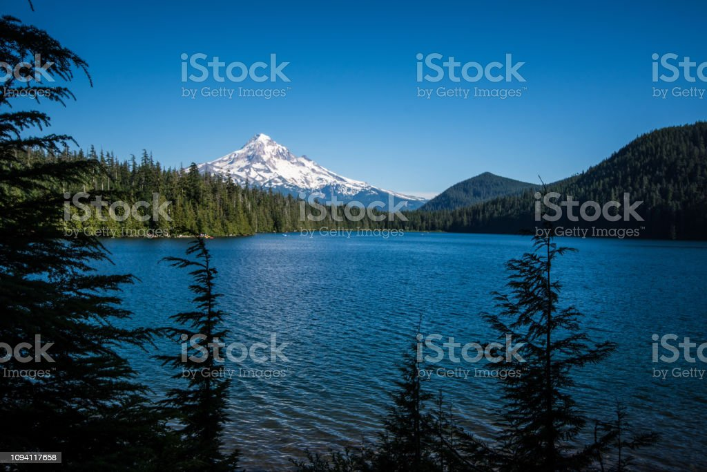 Beautiful view of Mt. Hood from Lost Lake Oregon on a sunny day