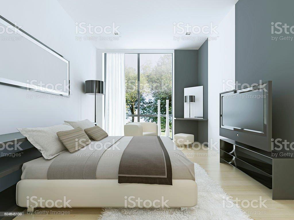 Blick Auf Schönes Gemütliches Schlafzimmer Mit Stockfoto und mehr Bilder  von Asphalt