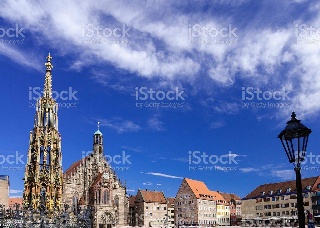 A beautiful view of Nuremberg Haultmarkt royalty-free stock photo