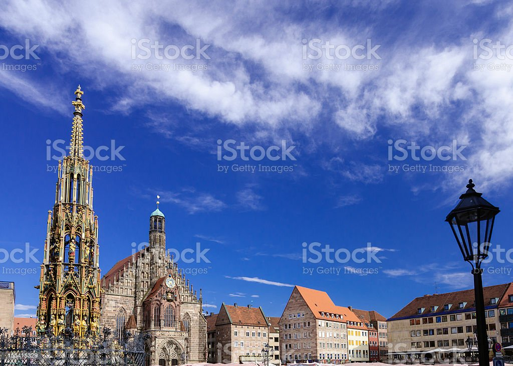 A beautiful view of Nuremberg Haultmarkt stock photo