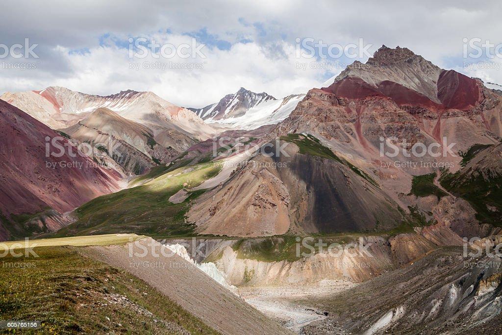 Beautiful view of Pamir mountains stock photo