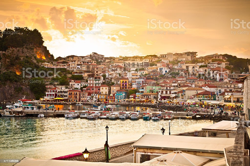 Beautiful view of Parga early evening, Greece. stock photo