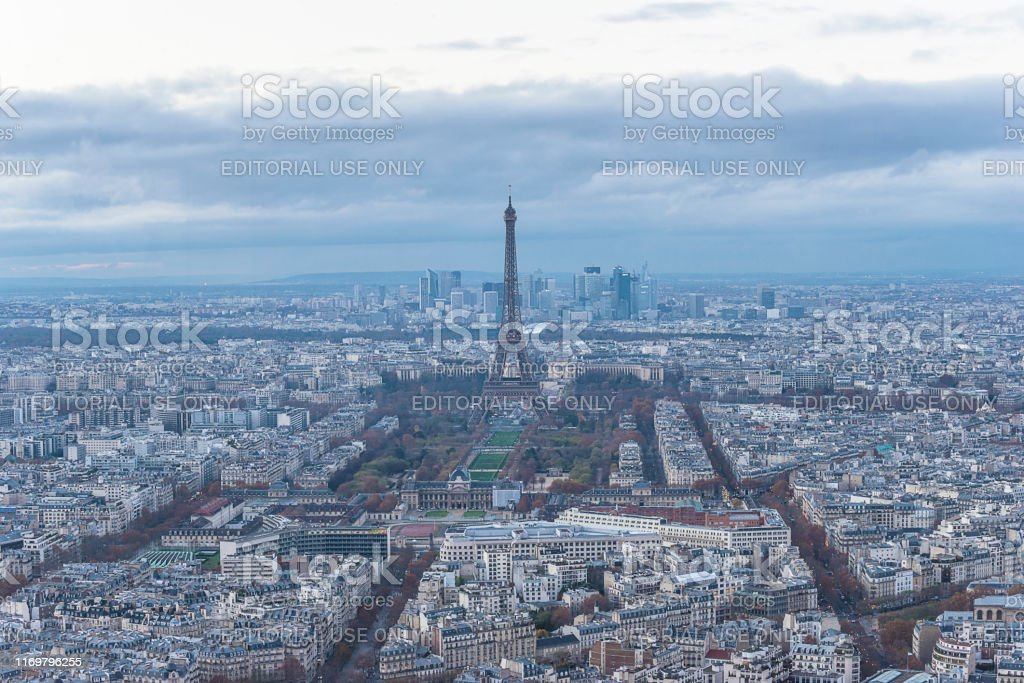 Beautiful view of Paris by evening with Eiffel Tower from...